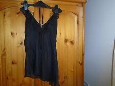 Pretty black floaty 2 layer halterneck top, asymetric hem, NEW LOOK, size 10