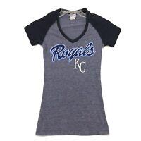 Royals KC Tee T-Shirt Womens Size XS Blue Gray Short Sleeve Cotton Blend