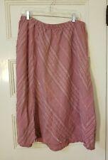 FLAX Linen Skirt Pink Mauve Diagonal Stripe Small Slit Size 2G  2X