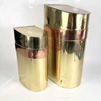 Mid Century Modern Brass & Copper Canister / Container Vintage Storage Set