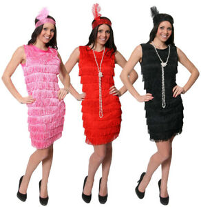 LADIES FRINGE FLAPPER FANCY DRESS ADULT CHARLESTON COSTUME GATSBY 1920'S 1930'S