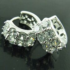 HOOP HUGGIE EARRINGS 18K WHITE GOLD G/F GENUINE DIAMOND SIMULATED ANTIQUE STYLE