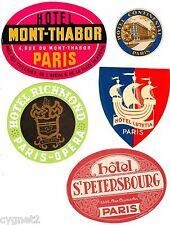 LUGGAGE LABELS GROUP OF 8 FRENCH HOTELS PARIS