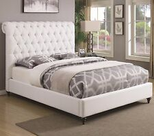 WHITE BUTTON TUFTED QUEEN SCROLLED HEADBOARD SLEIGH BED BEDROOM FURNITURE