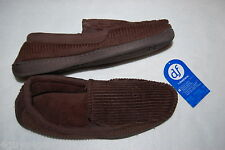 Mens Slippers BROWN CORDUROY DEARFOAM HOUSE SHOES Elastic at Arch S 7-8