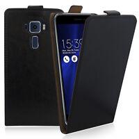 "Etui Coque Housse PU Vrai Rabat Flip Cover NOIR Asus Zenfone 3 ZE520KL 5.2"""
