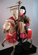 Antique Japanese Samurai Doll Battle Horse Meiji Gofun Musha Warrior Wooden Box