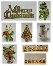 6 x Mini Christmas Cake Decorations (Picks/Santa Topper/Figures/Xmas/Snowman)