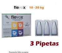 3 Pipetas perro 10-20Kg anti pulgas garrapatas fipronilo FLEVOX 1,34ml pipette