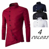 Asymmetrical Fashion Long Sleeve T-Shirt Casual Cotton blend Men Slim Shirt Tops