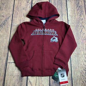 NHL Kids Boys Large 7 Colorado Avalanche Full Zip Hoodie Maroon Sweatshirt New