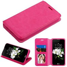 PINK LEATHER WALLET LEATHER SKIN COVER CASE FOR LG Zone 4 * NEW