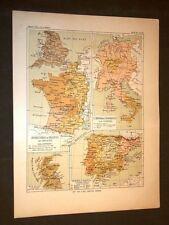 Carta cartina estratta da Atlante del 1890 Federico II° Regno Scozia Spagna