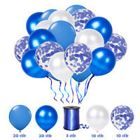 63 tlg. Konfetti Luftballon Party Set Blau Geburtstag Party Hochzeit JGA Ballons