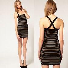 Plus Size Halter Neck Mini Striped Dresses for Women