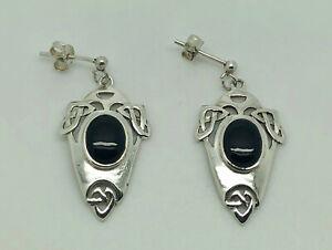 Gorgeous KIT HEATH KH93 Sterling Silver Onyx Celtic Mackintosh Drop Earrings
