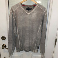 Buffalo David Bitton Sweater Mens XL V Neck Gray Pullover Distressed Cotton Wool