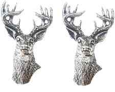More details for 2 x stag heads handcrafted from english pewter lapel pin badges tsb-a22