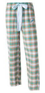 """Miami Dolphins NFL Women's """"Forge"""" Dual Blend Plaid Flannel Sleep Pants"""