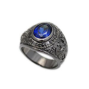 BLUE STONE PRINCESS CUT BLACK RUTHENIUM PLATED SOLID BRASS BIKER RING won-r036