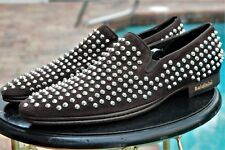 New $975 Baldinini Men's Spiked Suede Loafers Shoes Dark Brown size 42/us sz 10