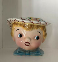 Vintage 1960s LEFTON Japan MISS DAINTY Hand Painted COOKIE JAR (NO LID) Planter