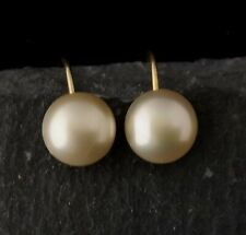 Vintage Art Deco earrings, simulated pearl and 9ct gold, screw back