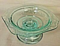 Vintage Glass Light Ice Aqua Blue Bowl with pedestal bowl