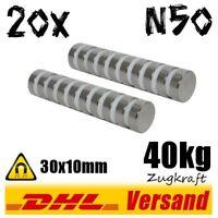20x Neodym Magnet 30x10mm D30x10mm 40kg N50 starke Permanentmagnete Hightech