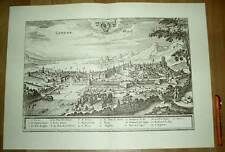 Genf Geneve Ginevra alte Ansicht Merian Druck Stich 1650 (schw)
