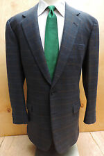 FALLAN & HARVEY BESPOKE Dark Blue Multi Color Windowpane 2 Btn SportCoat London
