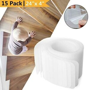 """15-Pack Non Slip Stair Treads 24""""x4"""" Anti Slip Clear Tape Adhesive Staircase Mat"""