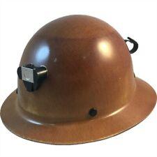Msa Skullgard Full Brim Hard Hat With Staz On Suspension Tan With Light Clip