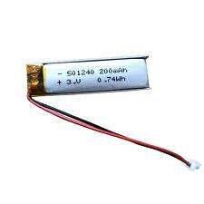 3.7V 220mAh 501240 Li-Po Battery RC Cells with 2Pin Plug for Bluetooth GPS MP3