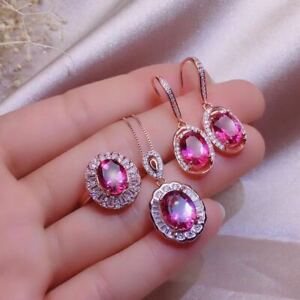 Natural Pink Topaz Silver Plated Rose Gold Pendant Ring Earrings