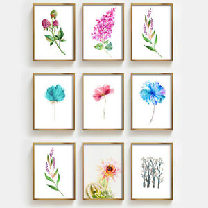 Watercolor Flower Art Prints Botanical Wall Poster Picture Decor Unframed