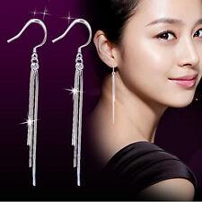 Fashion Women's Solid Silver Luxury Chain Dangling Earrings Wedding Jewelry