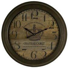 Reloj De Pared Metal Hierro Grande Marrón Estilo Vintage Redondo Chateau Canet Francés