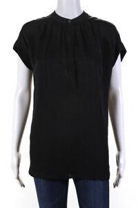 Vince Womens Short Sleeve Half Button Crew Neck Shirt Black Silk Extra Small