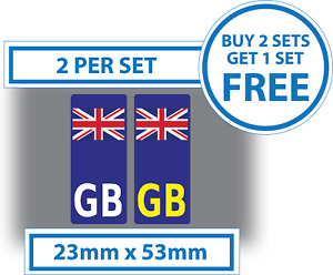 2 x Small GB Number Plate Stickers UK for Motorcycles Motorbikes 23mmx53mm Vinyl