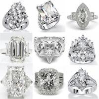Wedding Women 925 Sterling Silver White Sapphire Gemstone Rings Jewelry Gift Pop