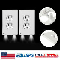 2 Pack Outlet Wall Plate Led Night Lights Cover Duplex With Ambient Light Sensor