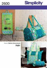 Simplicity Sewing Pattern 2600 Quilted Accessories Bags Travel Organiser