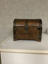 Vintage   Wooden Treasure Chest Dome top Jewelry Box Trunk