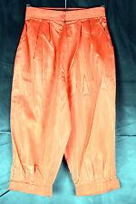 VINTAGE anni 1970 Rosso Raso Vita Alta Pantaloni alla zuava taglia 8