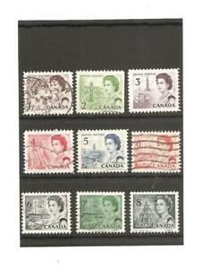 Canada Queen Elizabeth II 9 Stamps. 1967.