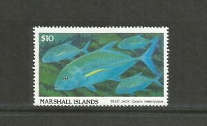 Marshall Islands 1988 Fish $10 Blue Finned Trevally Mounted Mint SG 163