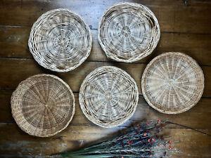 Set Of 5 Wicker Baskets Boho Rattan Basket Wall Decor