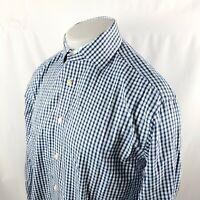 Thomas Dean Mens Button Front Shirt Sz Medium L/S Blue Check Flip Cuff A29-03