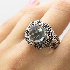 925 Sterling Silver Natural Prasiolite Gemstone Ring Size 10